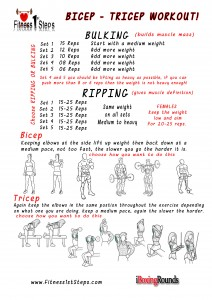 tricep bicep workout sheet